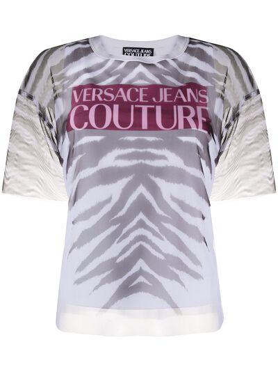 Versace Jeans Couture прозрачная футболка с зебровым принтом B2HVB7VB30384 - 1