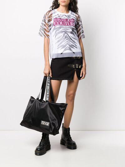 Versace Jeans Couture прозрачная футболка с зебровым принтом B2HVB7VB30384 - 2