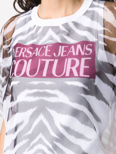 Versace Jeans Couture прозрачная футболка с зебровым принтом B2HVB7VB30384 - 5