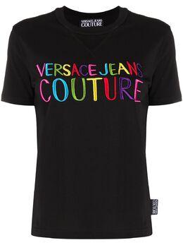 Versace Jeans Couture футболка с вышитым логотипом B2HVB7G330382