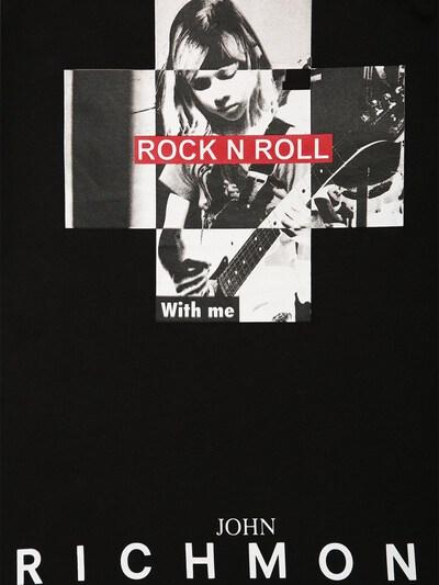 Rock N Roll Print Cotton Jersey T-shirt John Richmond 71IOFT011-QkxBQ0s1 - 2