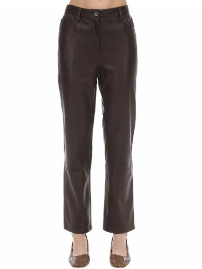 Straight Leg Soft Grain Leather Pants The Row 70IX5B014-RVNQ0 - 1