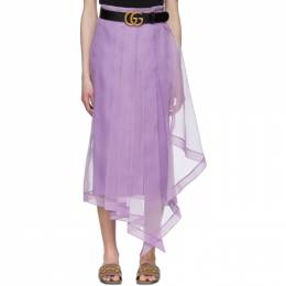 Gucci Purple Silk Organdy Skirt 617407 ZHS22