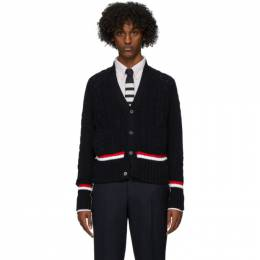 Thom Browne Navy Aran Cable V-Neck Cardigan MKC272A-00219