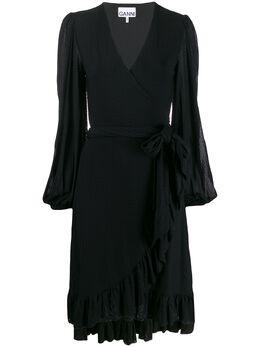 Ganni платье с оборками на подоле и запахом T2498