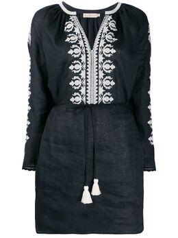 Tory Burch платье с расклешенными рукавами и вышивкой 54804