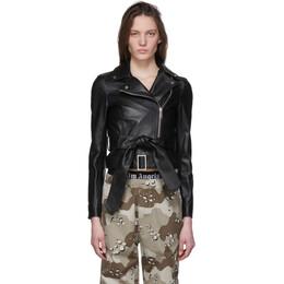 Palm Angels Black Leather Bow Belt Jacket PWJG004S20LEA0031001