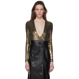 Gucci Gold Metallic Bodysuit 621145 ZADXW