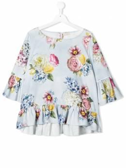 Monnalisa блузка с оборками и цветочным принтом 715305F15652