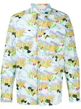 Marni рубашка на пуговицах с графичным принтом CUMU0136A0S52768