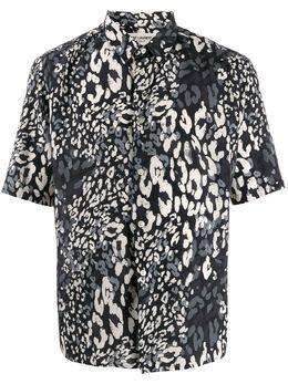 Saint Laurent рубашка с короткими рукавами и леопардовым принтом 601070Y1A70