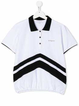 Givenchy Kids двухцветная рубашка-поло с принтом шеврон H15157N50