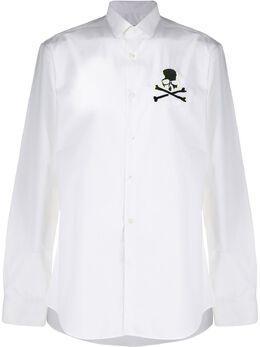 Philipp Plein рубашка с вышивкой Skull S20CMRP1179PTE003N