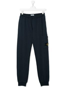Stone Island Junior спортивные брюки прямого кроя с карманом MO721660640