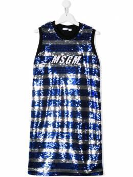 MSGM Kids платье в полоску с пайетками 022216