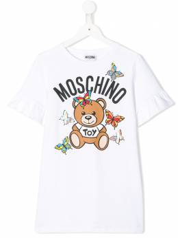 Moschino Kids платье-футболка с оборками на рукавах HBV06ELDA00