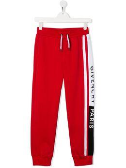 Givenchy Kids спортивные брюки с логотипом сбоку H24075991