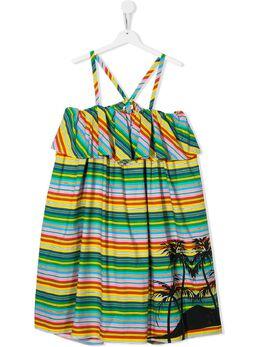 MSGM Kids платье в полоску с принтом 022355