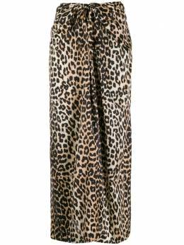 Ganni юбка миди с леопардовым принтом F3654
