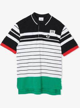 Burberry Kids полосатая рубашка-поло с нашивкой-логотипом 8023685