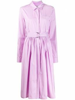 MSGM платье-рубашка в полоску с поясом 2841MDA26X207003