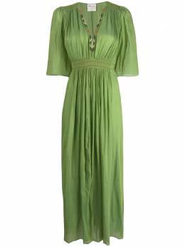 Forte_Forte длинное платье с V-образным вырезом и складками 7085MYDRESS