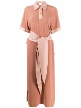 Nanushka платье-рубашка с поясом LEILATERRAGEORGETTE