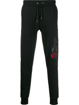 Philipp Plein спортивные брюки с нашивкой Tiger S20CMJT1561PJO002N