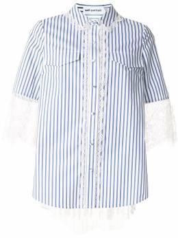 Self-Portrait полосатая рубашка с кружевной отделкой RS20102
