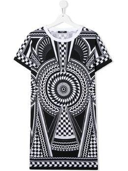 Balmain Kids платье-футболка с абстрактным принтом 6M1171MX500