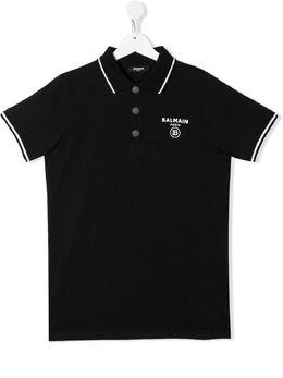 Balmain Kids рубашка-поло с контрастным логотипом 6M8541MX330