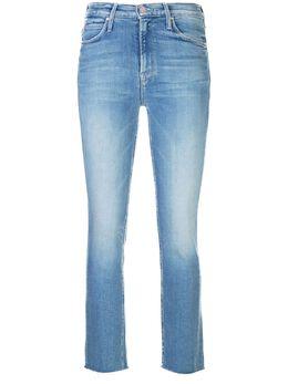 Mother джинсы скинни с необработанным краем 1906775