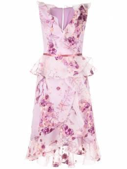 Marchesa Notte платье миди с цветочным принтом N29C0855