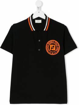 Fendi Kids рубашка-поло с нашивкой-логотипом JMI304AVP