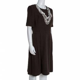 Oscar De La Renta Brown Textured Wool Embellished Short Sleeve Dress L 280503