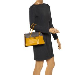 Miu Miu Mustard/Grey Madras Leather Push Lock Top Handle Bag 280911