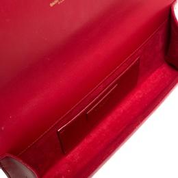Saint Laurent Red Leather Kate Monogram Clutch