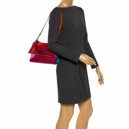 Carolina Herrera Tricolor Leather Camelot Top Handle Bag 281050