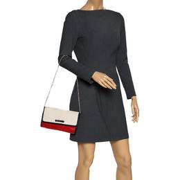 Furla Bicolor Leather Flap Chain Shoulder Bag 280739