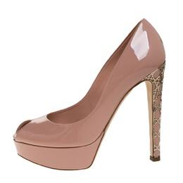 Dior Beige Patent Leather Metal Cannage Heel Peep Toe Platform Pumps Size 38 280952