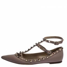 Valentino Beige Leather Rockstud Pointed Toe Ballet Flats Size 36.5 280575