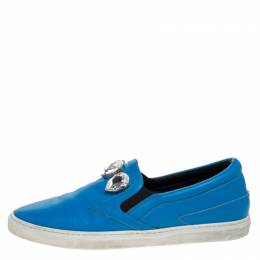 Roberto Cavalli Blue Leather Crystal Embellished Slip On Sneakers Size 38 281180