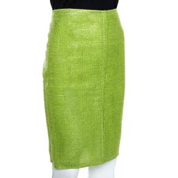 Versace Metallic Green Interwoven Cotton Blend Pencil Skirt M 280338