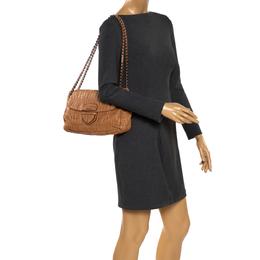 Prada Brown Nappa Gaufre Leather Flap Shoulder Bag 280935