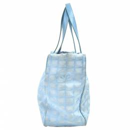 Chanel Light Blue Jacquard Nylon Travel Line Medium Tote Bag 279658