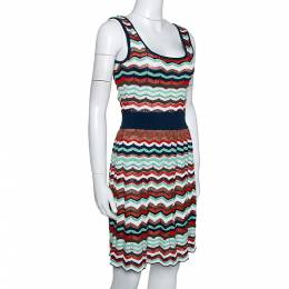 M Missoni Multicolor Patterned Knit Cut Out Detail Sleeveless Dress S 280328
