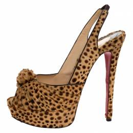 Christian Louboutin Brown Calf hair Jenny Knotted Slingback Platform Sandals Size 38 280868