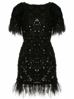 Macgraw платье с перьями и пайетками AV26