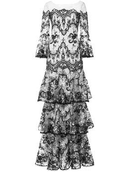 Marchesa Notte кружевное платье с вышивкой N23G0588