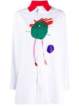 Plan C рубашка со съемным воротником и графичным принтом CMCAA04BMSTC038